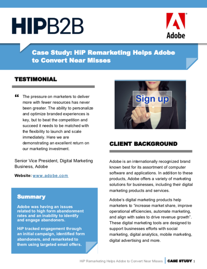 Case Study: HIPB2B Remarketing Helps Adobe to Convert Near Misses