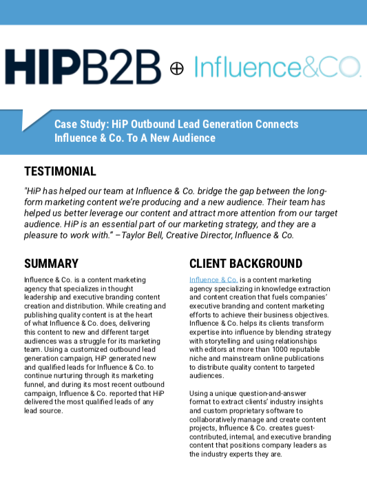 Case Study: HIPB2B Outbound Lead Generation Connects Influence & Co. To A New Audience