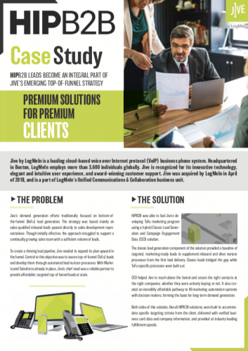 Case Study: HIPB2B Leads Become an Integral Part of Jive's Emerging Top-of-Funnel Strategy