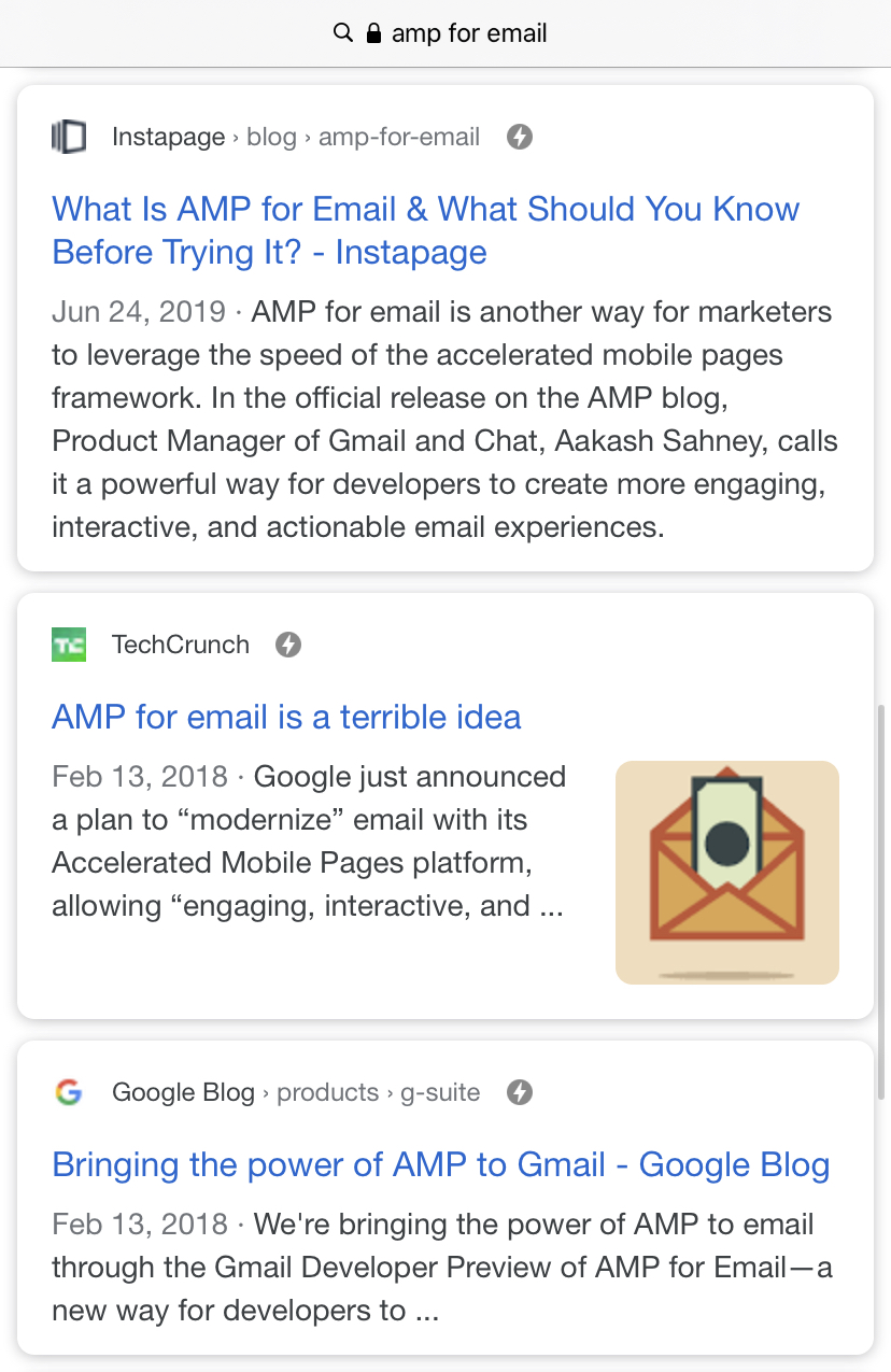 Google search of AMP webpage examples