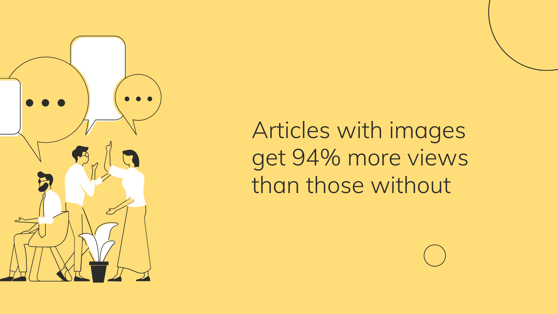 """yellow background, cartoon people with """"..."""" in chat bubbles overhead. Text """"Articles with images get 94% more views than those without"""""""
